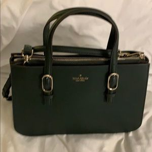 Green Kate spade Tote with cross body strap.